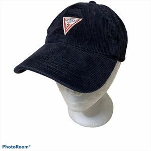 Guess Black Corduroy Strap Back Triangle Hat